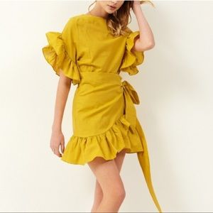 Storets Avril Yellow Wrap Dress